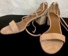 4798a1e6c288 Aquazzura Shoe Beige Suede Lace Up Tie Open Toe Block Heel Size 40 New