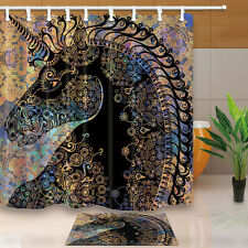 Black head unicorn Shower Curtain Polyester Waterproof Free Rings & Bath Mat new