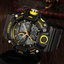 Ohsen Mens G Style Alarm Water Proof Date Yellow Case Shock Quartz Wrist Watches