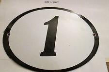Hausnummer Oval Emaille  schwarze Nr. 1  weißer Hintergrund 19 cm x 15 cm