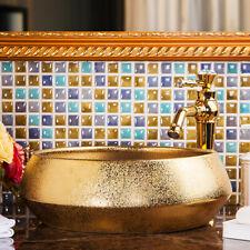 Cerámica de baño de oro de vanidad lavabo mezclador grifo del lavabo Grifo de drenaje Pop-Up Set