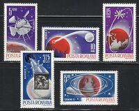 Romania 1965 MNH Sc 1802-1806 Mi 2465-2469 Probe III,Proton I,Molniya I,Mariner