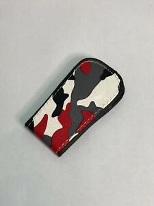 Custom Made Faux Leather Red Camouflage Design Money Clip Cash Holder Magnet
