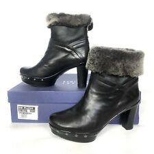 Stuart Weitzman for Russell Bromley Black Ankle Boots Sheepskin Clogs Luxury 4UK