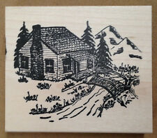 Mounted Rubber Stamps, Scenic Stamps, Mountain Cabin, Log Cabin, Cabins, Trees