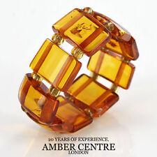 Deep Orange/Cognac GERMAN BALTIC AMBER Handmade Elastic Ring RB022 RRP£35!!!