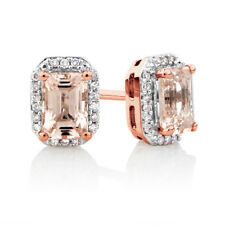 Morganite Emerald & White Cz halo stud earrings 14k Rose Gold Plated Silver
