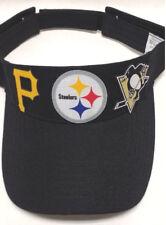 Pittsburgh Steelers/Pirates/Penguins Heat Applied Logos on Black visor cap hat.