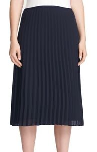 DKNY Women's Skirt Navy Blue Size 14P Petite Side Zip Solid Pleated $89 #288