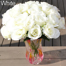 Large Bouquet 24 Heads Fake Rose Faux Flowers Wedding Party Home Decors Beamy