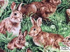 RPFFT87C Bunny Rabbit Meadow Grass Flower Field Cute Bunnies Cotton Quilt Fabric