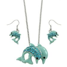 """Dolphins Necklace & Earrings Set - Sparkling Crystal - Fish Hook - 18"""" Chain"""