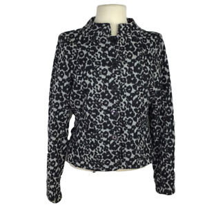 ECI Womens 10 Leopard Jacket Fitted Cotton Blend Knit Long Sleeves Black Gray