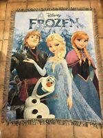 Frozen Knit Throw Afghan Rug Style Blanket Olaf Elsa Anna