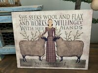Folk Art Primitive Girl With Sheep On 8x10 Canvas