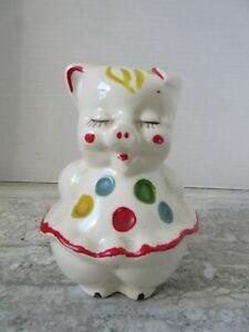 Old Vintage American Bisque Pottery Polka Dot Pig Piggy Bank