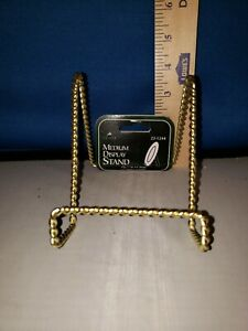 Plate Holder Single Twisted Gold Tone Tripod Tabletop 4in 23124 371