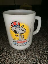 Vtg Fire King Anchor Hocking Put Snoopy In The Whitehouse 8 Ounce D Handle Mug