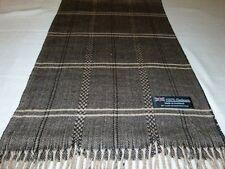 New 100% Cashmere Scarf Soft 72X12 Black Beige Scotland Wool Check Plaid K35 Men