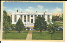 CB-434 OR, Salem, United States Post Office Linen Postcard Curt Teich Old Cars