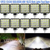 10X 48W LED Work Light Flood Beam Bar Car ATV Off-Road Driving Fog Lamps 12V/24V
