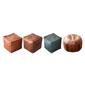 Unstuffed PU Leather Moroccan Pouf Cover Hassock Storage Ottoman Cover