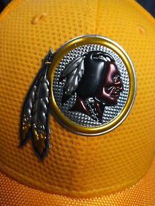 Washington Redskins Football Team Metallic Logo Yellow New Era 39thirty Hat S/M