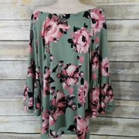 Denim & Co Size L Peasant Top Sage Green Floral Print 3/4 Bell Sleeve A304993