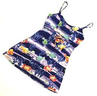 Jams World Sz S Sundress Talking Fish Spaghetti Strap Mini Dress Hawaii 00357