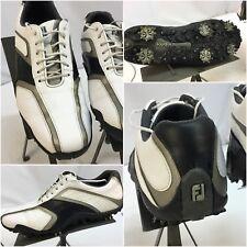 FootJoy Superlites Golf Shoes Sz 8.5 Men White Leather Saddle Worn 3 Time YGI L7