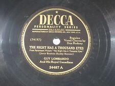 US 78 rpm Guy Lombardo: The night has a thousand / Mlle. Hortensia, Decca 24487