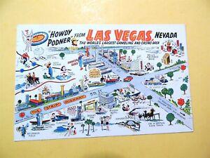 Howdy Podner from Las Vegas Nevada vintage postcard 1960 Comic Map Casinos