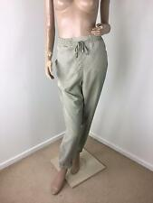 PORTMANS Green/Beige Soft Loose Chambray Elasticated Waist Leg Hem PANTS Size 14
