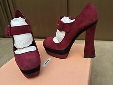 AUTHENTIC Miu MIU Burgundy Suede MARY JANE Pumps,HEELS,SHOES,5ip317 XVG,sz 37,7
