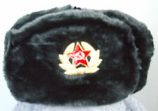 RUSSIAN AUTHENTIC USHANKA Deep-GRAY MILITARY HAT W/ Soviet Badge