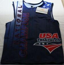 2015 USA Unisex Sleeveless Half Zippered Triathlon Cycling Jersey