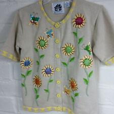 STORYBOOK KNITS Yellow Sunflowers & Butterflies Short Sleeve Cardigan XS