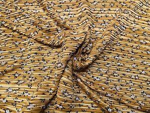 Printed Plissé Pleated Satin Fabric, Per Metre - Mustard Ditsy Print