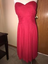 NWOT Calvin Klein Strapless Pleated Dress- Dressy Semi Formal- Red- Size 8