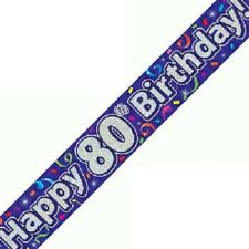 Happy 80th Birthday Streamers Banner 270 cm repeats 3 times Holographic Purple