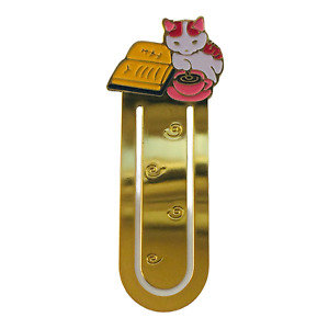 Cat Bookmark Metal Pottering Gift Gold Enamel Book Mark Page Marker Coffee Books