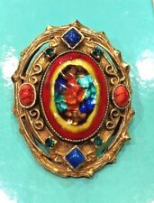 VINTAGE RARE HATTIE CARNEGIE CABOCHON AND STONE OVAL PENDANT BROOCH PIN