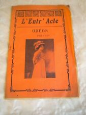 Vintage Programme theatre national de L'Odeon early 1900s L'Entr'Acte L'Autre