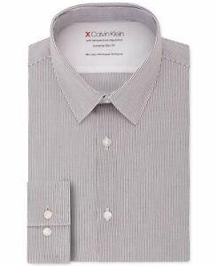 Calvin Klein Mens Dress Shirts White Size 17-17 1/2 Stripe Button Down $79 #337