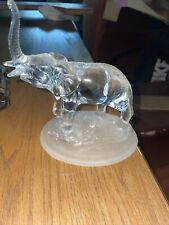 Vintage Glass Elephant Statue Figurine&Frosted Stand. Amazing Condition. No Box