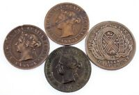 Canada Lot of 4 Miscellaneous Pennies 1844 - 1899 VF to XF Condition