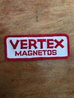 """Vtg Vertex Magnetos Embroidered Sew On Patch Auto Racing 4.25"""" Badge 70's 80's"""
