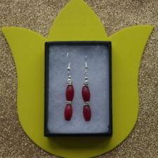 Ruby Oval Stone Costume Earrings