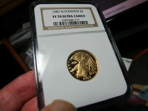 PERFECTLY GRADED GOLD COMMEM NGC  PR-70 ULTRA CAMEO 1987  CONSTITUTION  1/4 OZ