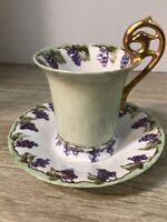 Vintage Demitasse Cup & Saucer Hand Painted Grapes Gold Fancy Handle 1902 BAK